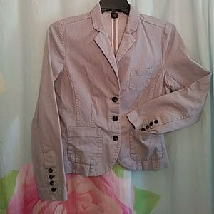 Eddie Bauer Pin Striped Gray Blazer Fitted